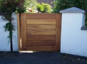Made to measure Iroko hardwood garden gate in Newtownards Co Down