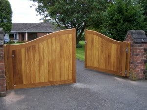 Bespoke, Curved top, Iroko hardwood driveway gates in Drumbo Co Down