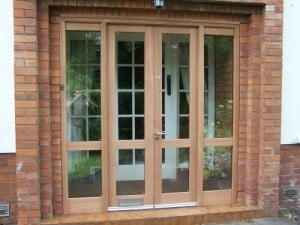 Double glazed, sapele french doors with matching sidelights