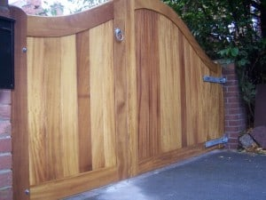 Iroko hardwood, 1/3 pedestrian and 2/3 driveway gates in South Belfast