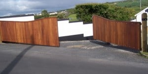 Galvanised steel framed gates, clad with Iroko hardwood, to fit an opening of 27 feet in Co Londonderry