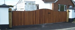 Galvanised steel framed gates, clad with Iroko hardwood, to fit an opening of 22 feet in Co Londonderry