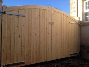 Redwood, made to measure, curved top, entrance gates in Co Down