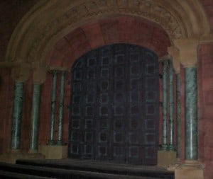 Hardwood arched top doors on set for a television project
