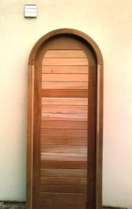 Arched top pedestrian hardwood gate and frame