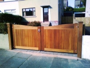 Made to measure Iroko timber driveway gates after fitting in Bangor Co Down