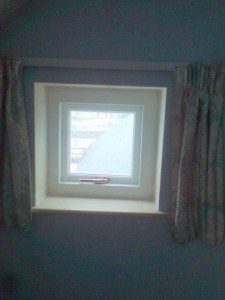 Small, hardwood, replacement double glazed casement window with a painted finish in Ballynahinch Co Down