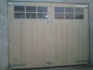 Redwood garage doors with Georgian style glazing and matching frame (unfinished) in Newtownards Co Down