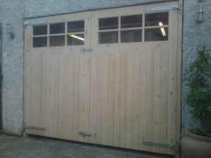 Redwood garage doors with Georgian style glazing and matching frame (unfinished)