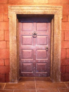 Hardwood , eight , raised panel door on set for a television project.