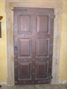 Hardwood , six , raised panel door on set for a television project.
