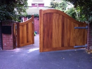 Iroko hardwood, 1/3 inward opening, pedestrian gate and 2/3 outward opening, drive way gates in South Belfast
