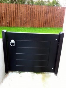 Contemporary black hardwood garden gate in Annacloy Co Down