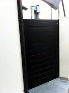 Contemporary black hardwood security gate in Annacloy Co Down