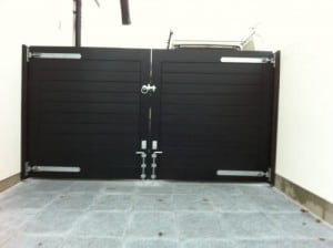View from the rear, Contemporary black hardwood entrance gates