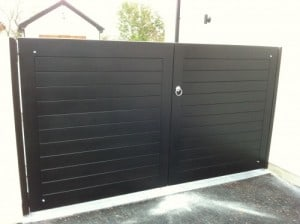 Contemporary black hardwood entrance gates in Annacloy Co Down