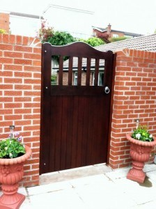 Sapele hardwood, open top pedestrian gate in Dundonald