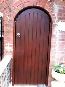 Bespoke Sapele hardwood arched gate in Dundonald