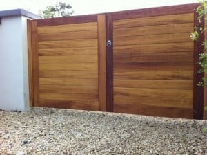 Bespoke contemporary Iroko hardwood entrance gates in Navan Co Meath