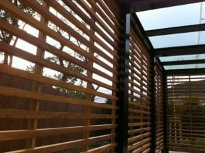 Bespoke Iroko hardwood trellis in Navan Co Meath