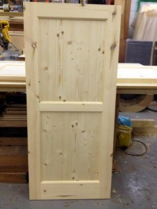Two panel redwood internal door
