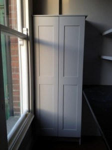 Painted Shaker style doors for an electric cupboard.