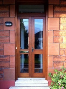 European oak , double glazed entrance doors, with matching frame and fan light