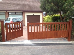 Mahogany, 1/3 pedestrian and 2/3 driveway, open top gates