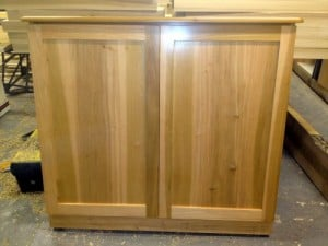 bespoke tulipwood electric cupboard with shaker style doors