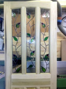Detail of bespoke stained glass panels