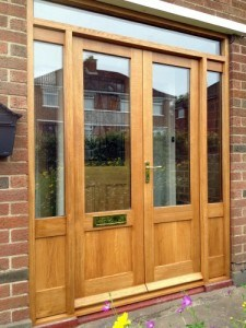 European oak, double glazed french doors with matching frame and side panels