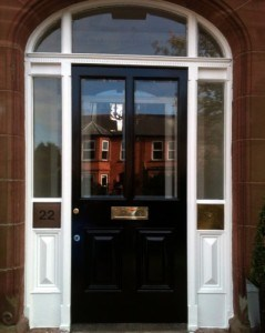 Painted hardwood Victorian entrance door with matching frame, sidelights and fanlight
