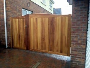 Iroko Hardwood 1/3 pedestrian and 2/3 driveway gates in Ballymena Co Antrim
