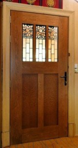 European Oak door with bespoke stained glass panels