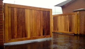 Contemporary, made to measure, Iroko hardwood entrance gates in Co Antrim