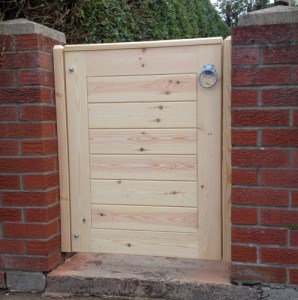 Made to measure, bespoke contemporary, redwood garden gate in East Belfast