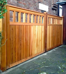 Bespoke, made to measure, Western Red Cedar fence panels and matching posts in East Belfast