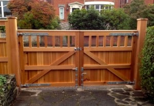 Rear view of Western Red Cedar, open top entrance gates and matching gate posts
