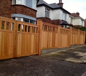 Western Red Cedar, open top entrance gates with matching fence panels and posts in East Belfast