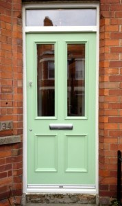 Painted hardwood, Victorian , double glazed front door with matching frame and top light