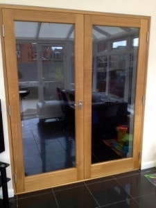 European Oak, shaker style, double glazed french doors with matching frame