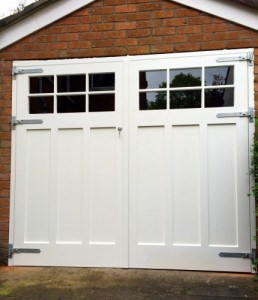 Painted, Georgian style, glazed garage doors with matching frame in East Belfast