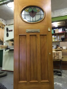 1930's three panel entrance door with bespoke, double glazed stained glass unit