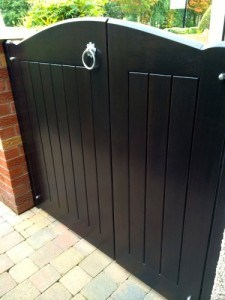 Hardwood, stained ebony colour 2/3 and 1/3, curved top, side gate in Redburn Co Down