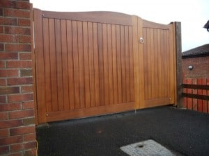 Sapele hardwood 1/3 pedestrian and 2/3 driveway gates, 6ft high in Carrickfergus Co Antrim