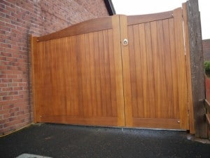 Sapele hardwood 1/3 pedestrian and 2/3 driveway gates, 6ft high