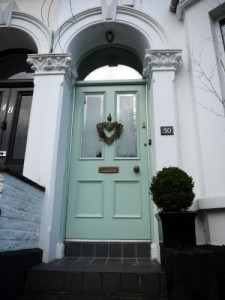 Hardwood, Victorian four panel, double glazed entrance door with double glazed top arched fanlight