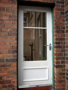 Hardwood, Victorian style entrance door with double glazed vision panels