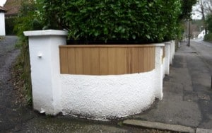 Bespoke, curved Iroko hardwood fence panel in East Belfast