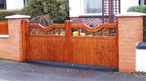 Redwood driveway gates stained and fitted in East Belfast